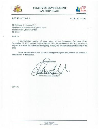 2013-12-19 Response from Ministry of Environment and Drainage
