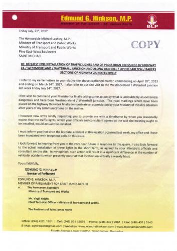 letter to minister of public works