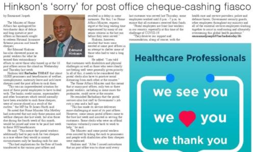 Hinkson 'sorry' for the post office cheque-cashing fiasco