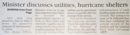 Minister discusses utilities, huricane shelters