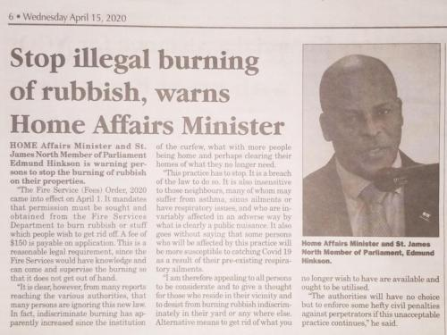 Stop illegal burning of rubbish, warns Home Affairs Minister