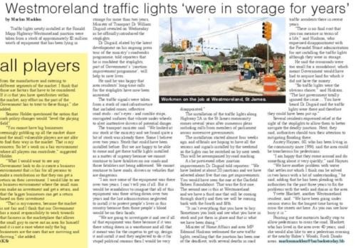 Westmoreland traffic lights 'were in storage for years'